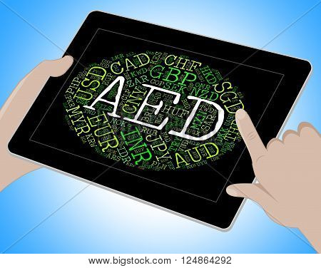 Aed Currency Indicates United Arab Emirates And Banknotes