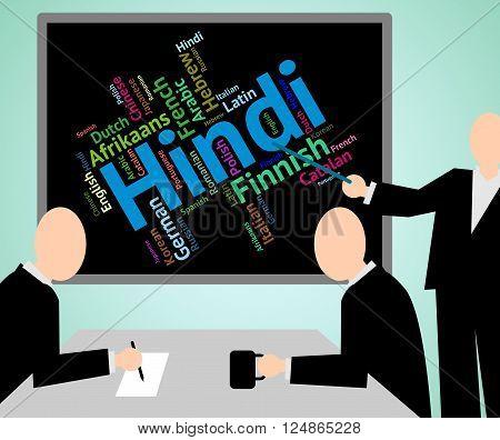 Hindi Language Indicates International Speech And Text
