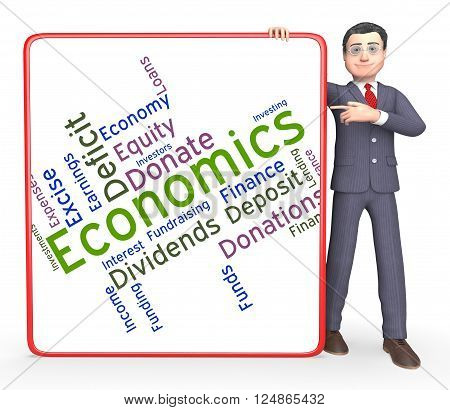 Economics Word Indicates Economy Economizing And Fiscal