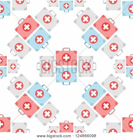 First aid box icon pattern. First aid box seamless pattern