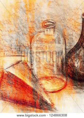 Drawing glass bottle on paper. Original hand draw and Color effect