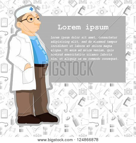 Doctor in cartoon style. Illustration of a doctor standing in front of the information tables. Patient information. Vector. Seamless pattern with medical elements.