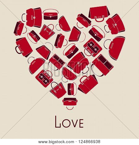 Woman handbags vector illustration in heart with love