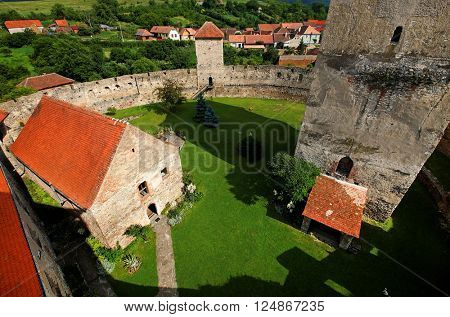 Architectural detail of Calnic Medieval Fortress, Transylvania, Romania - UNESCO heritage landmark