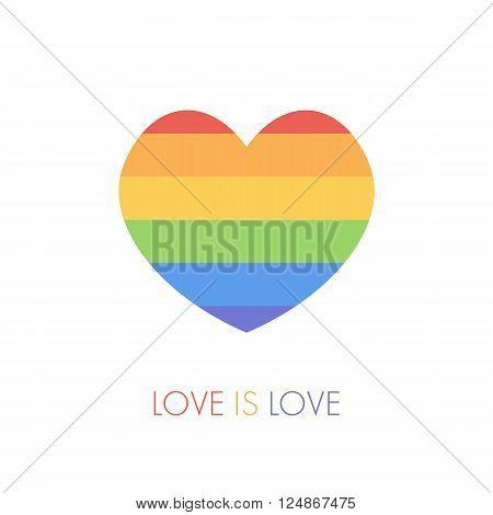 LGBT community rainbow heart symbol. Love is love heart logo.