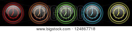time colored web icons set on black background