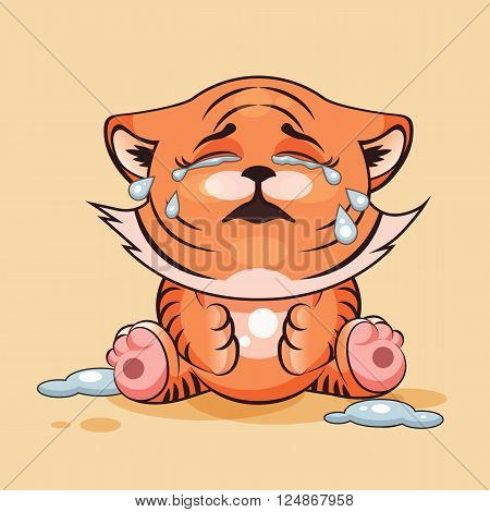 Vector Stock Illustration isolated Emoji character cartoon Tiger cub crying, lot of tears sticker emoticon for site, infographics, video, animation, websites, e-mails, newsletters, reports, comics