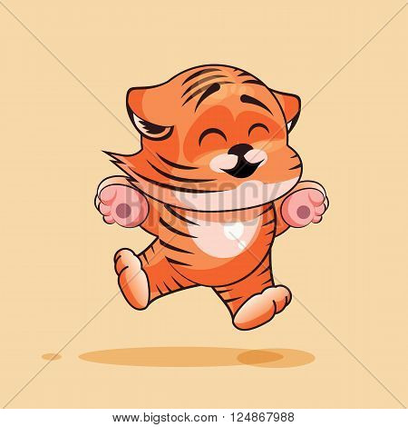 Vector Stock Illustration isolated Emoji character cartoon Tiger cub jumping for joy, happy sticker emoticon for site, infographics, video, animation, websites, e-mails, newsletters, reports, comics