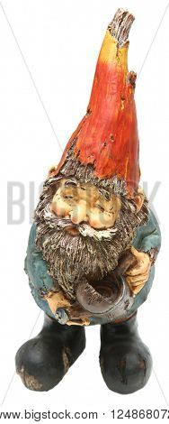 Adorable Lawn and Garden Gnome with Watering Can over white.