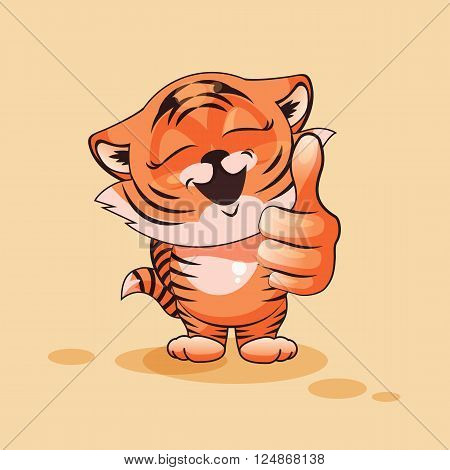 Vector Stock Illustration isolated Emoji character cartoon Tiger cub approves with thumb up sticker emoticon for site, infographics, video, animation, websites, e-mails, newsletters, reports, comics