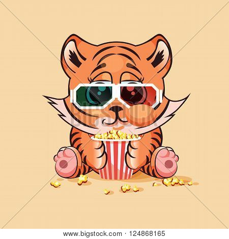 Vector Illustration Emoji character cartoon Tiger cub chewing popcorn, watching movie in 3D glasses sticker emoticon for site, infographic, video, animation, website, e-mail, newsletter, report, comic