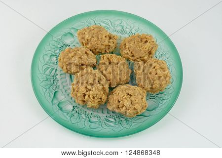 Plate of peanut butter oatmeal cookies on plate