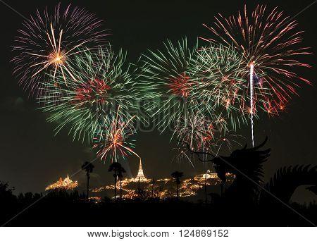 Dragon and Fireworks Festival at Phetchaburi Thailand