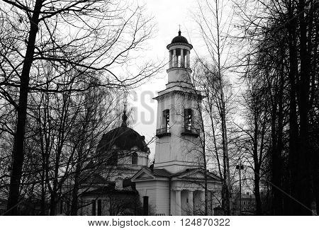 Church of St. Alexander Nevsky in Ust-Izhora town St.Petersburg suburb Russia. Black and white. ** Note: Visible grain at 100%, best at smaller sizes