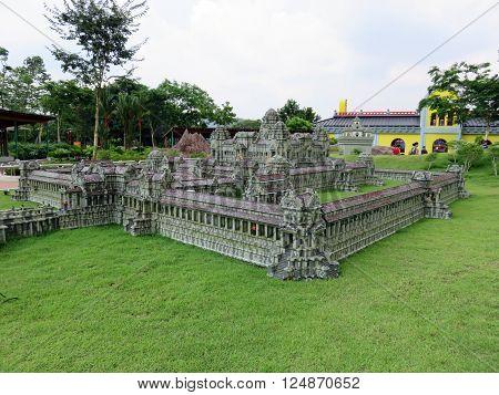 JOHOR MALAYSIA  - NOVEMBER 11:  Angkor Wat Temple Complex Cambodia  LEGOLAND MINILAND Malaysia Theme Park November 11, 2014  in Johor, Malaysia