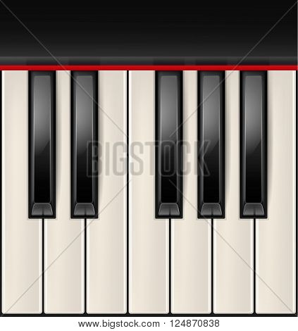 Realistic piano keys isolated on a white background. Octave. Piano image, grand piano, piano eps 10, piano vector, piano illustration, piano jpg, piano picture, piano design, piano web, piano art, piano app, piano icon. Vector EPS10 illustration.