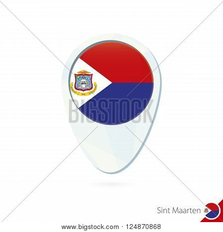 Sint Maarten Flag Location Map Pin Icon On White Background.