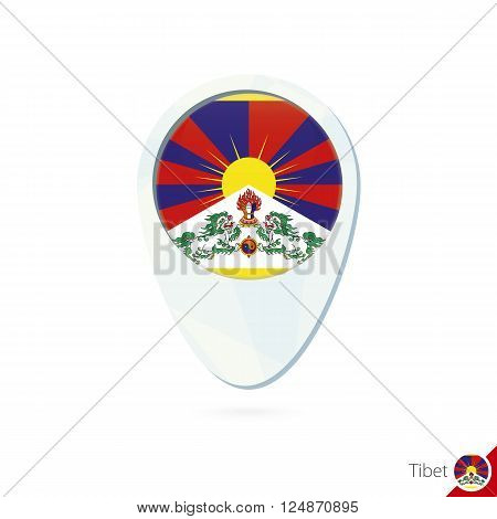Tibet Flag Location Map Pin Icon On White Background.