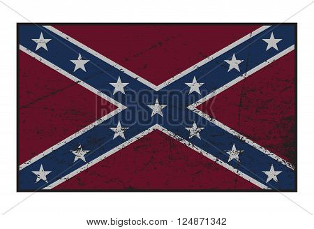 A grunged Confederate flag isolated on a white background