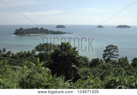 Sea view from a hillside over Kai Bae Koh Chang Thailand.