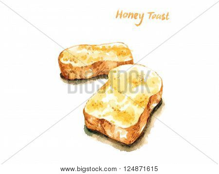 Honey french toast watercolor illustration isolated background
