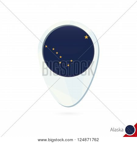 Usa State Alaska Flag Location Map Pin Icon On White Background.