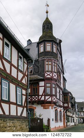 Historic half-timbered houses in Braunfels old town Germany