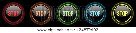 stop colored web icons set on black background