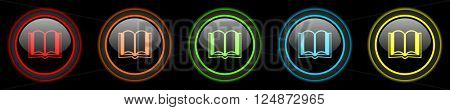 book colored web icons set on black background