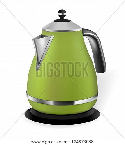 Photorealistic green electric kettle on white background