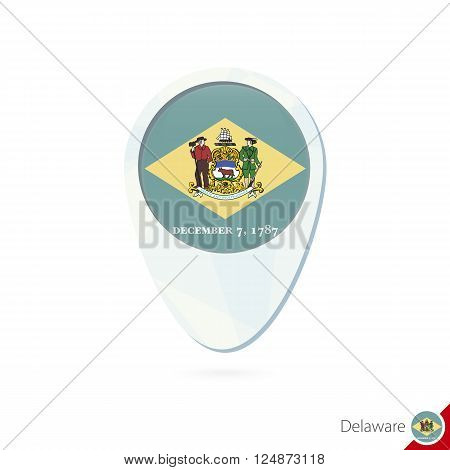 Usa State Delaware Flag Location Map Pin Icon On White Background.