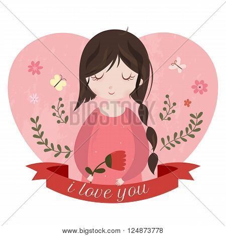 I love you card with adorable cartoon girl. Mothers day or Valentines day card. Cute young girl on the background with heart and ribbon.