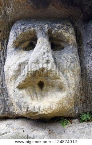 Frightening Stone Head - rock sculpture in the forest from 1840 by sculptor Vaclav Levy