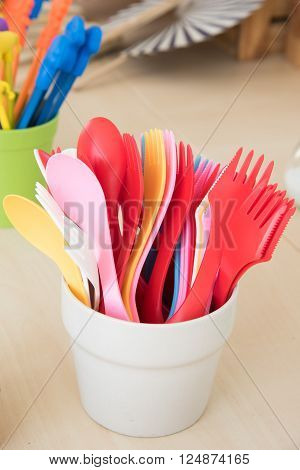 Colorful Plastic Spoon And Fork