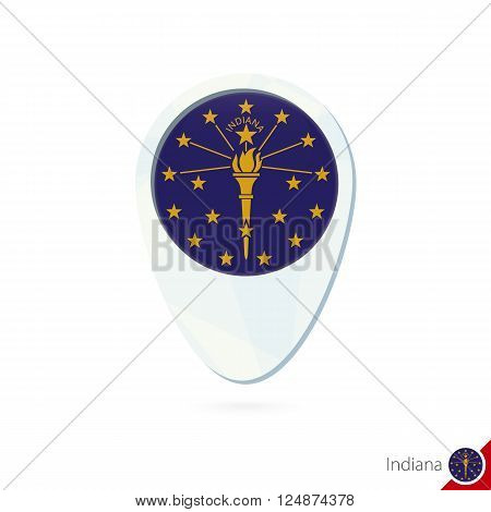 Usa State Indiana Flag Location Map Pin Icon On White Background.