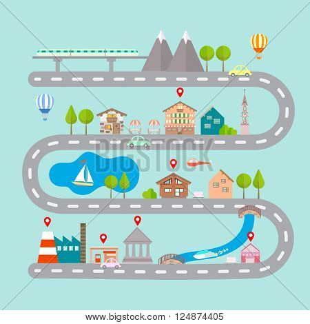 Vector illustration of navigation infographic concept. City navigation map with building. City countryside lake mountain gas station restaurant bridge hotel route pin markers.