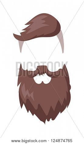 Hipster fashion men fashion hair and beard vector illustration.