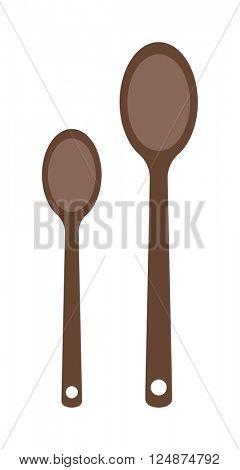 Vector wooden two spoon silhouette set dinner utensil kitchen object.