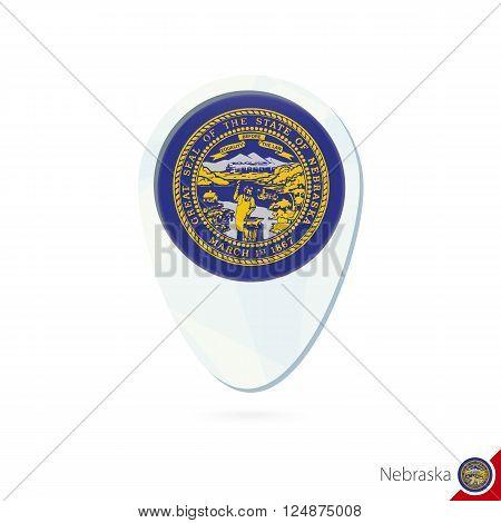 Usa State Nebraska Flag Location Map Pin Icon On White Background.