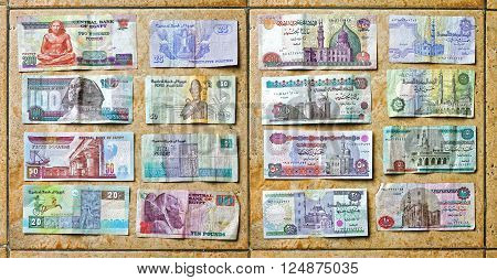 CAIRO EGYPT - FEBRUARY 25: Egyptian Pounds Money in Cairo on FEBRUARY 25 2010. Colorful Egypt Pound Currency Banknote in Cairo Egypt.