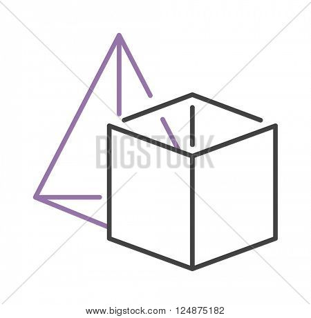 Set of geometric shapes platonic solids pyramid and cube vector illustration.