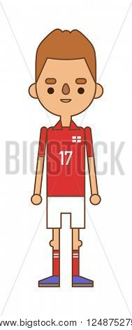 Soccer player kicking ball competition sport young person flat vector illustration.