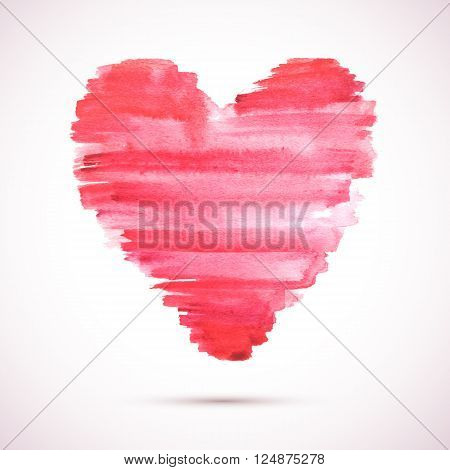 Vector watercolor heart background. Colorful abstract texture. Vector design elements. Vintage red heart. Love heart vector.