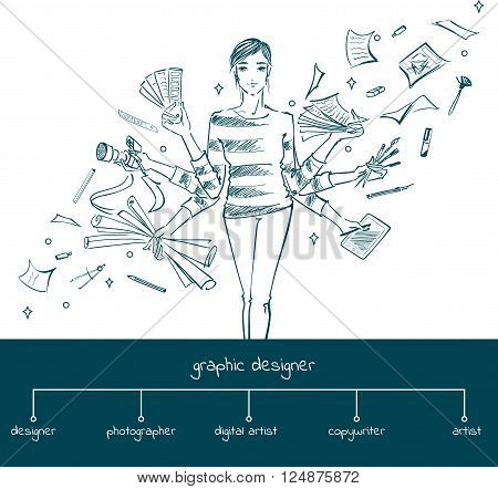 Young girl graphic designer with working tools. Hand-drawn sketch style concept of multitasking profession graphic designer. Vector illustration
