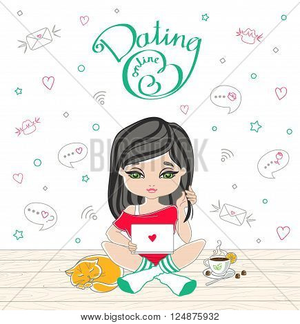 Cartoon Cute Girl Dating On-line With Lettering Dating On-line.