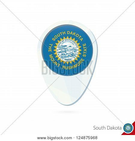 Usa State South Dakota Flag Location Map Pin Icon On White Background.