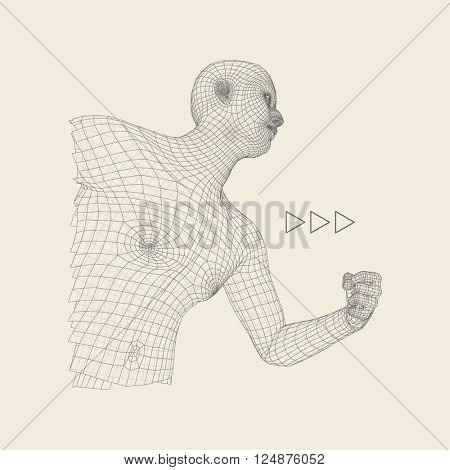 3D Model of Man. Geometric Design. Business, Science and Technology Vector Illustration. 3d Polygonal Covering Skin.