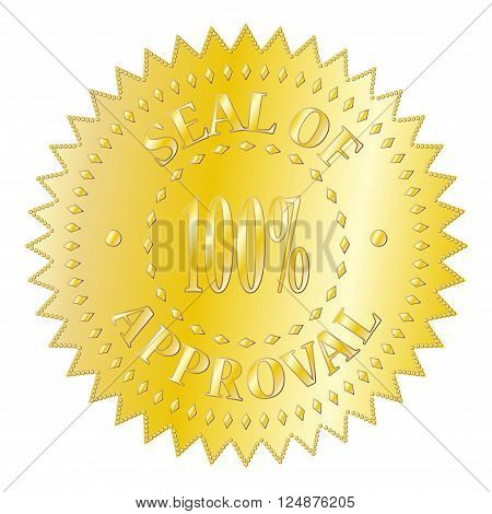 A textured gold seal of approval badge isolated on a white background