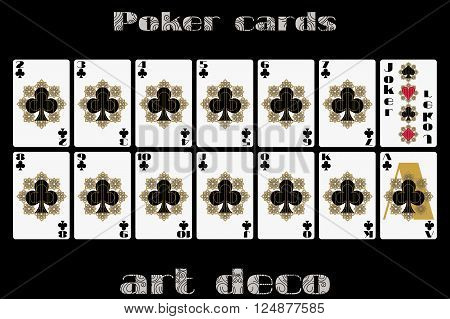 Playing Cards Club Suit. Poker Cards In The Art Deco Style. Vector.