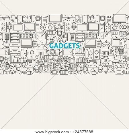 Technology Gadgets Line Art Seamless Web Banner
